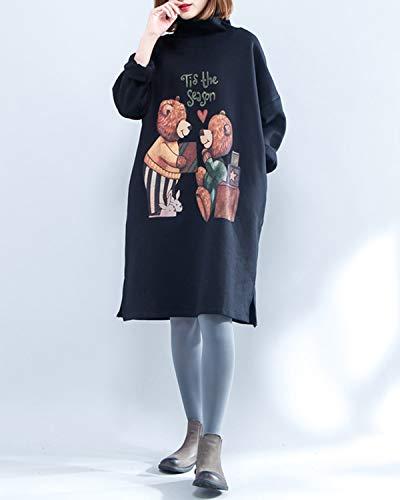 Con Donna Lunghe Zebuakuade Stampa Black color Size Allentata Black Da Felpa Midi Size In A One Maniche wrqYfzqt