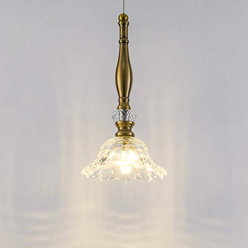 Smellbt Mini Crystal Pendant Light Clear Crystal 1-Light Modern Flower Shade Hang Light Fixture, Adjustable Crystal Pendant Lighting for Kitchen Island, Dining Room, Bedroom