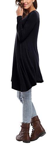 Vestito Alta Formato M Caringgarden In Maniche Ad Colori 6 Allentato Lunghe Donna Sportiva Basso 1x Maglietta Vestito Nero A Dalla a0aqY