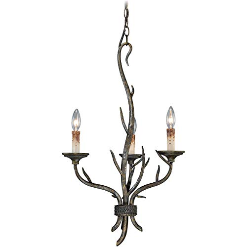 Mini Chandeliers 3 Light Fixtures with Autumn Patina Finish Steel Material Candelabra 18
