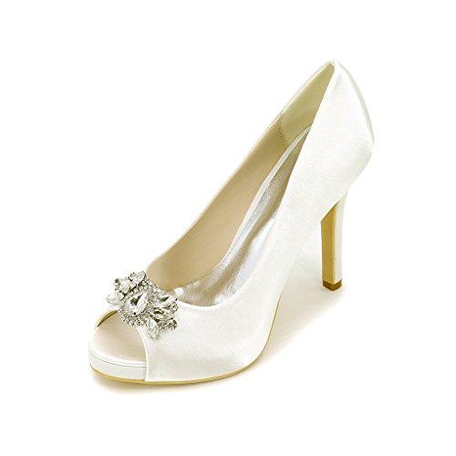 Yy-rui Chaussures Dames Pompes Haute Peep Toe Talon Élégant Ivoire Soir Partie De Talon Aiguille