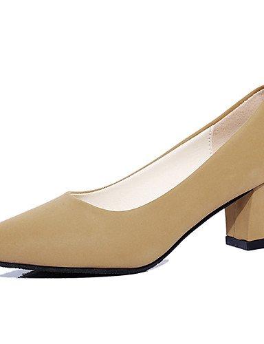 GGX/ Damen-High Heels-Kleid / Lässig / Sportlich-Kunstleder-Blockabsatz-Absätze / Komfort / Stifelette / Gladiator / Pumps / Spitzschuh- almond-us7.5 / eu38 / uk5.5 / cn38