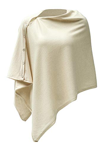 Womens Lightweight Kintted Poncho Sweater with Shell Button, Versatile Scarf Shawl Cape for Spring Summer Autumn, Beige Yellow