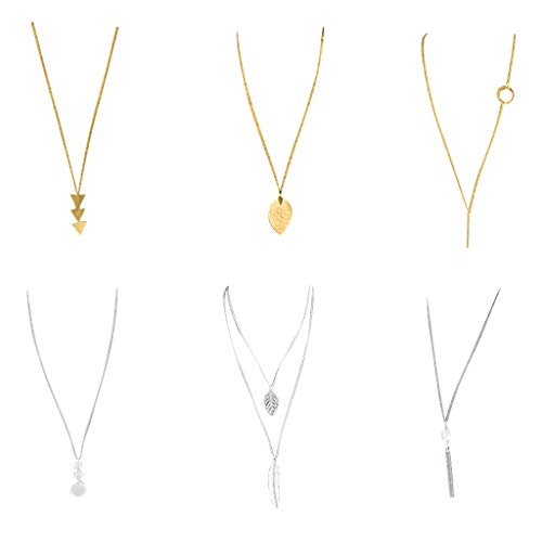 Fashion Long Necklace Pack 6 Pcs,Crytech Trendy Gold/Sterling Silver Geometric Triangle Oval Pendant Necklace Bar Circle Sideway Lariat Layered Feather Long Chain Tassel Necklace for Women (A)