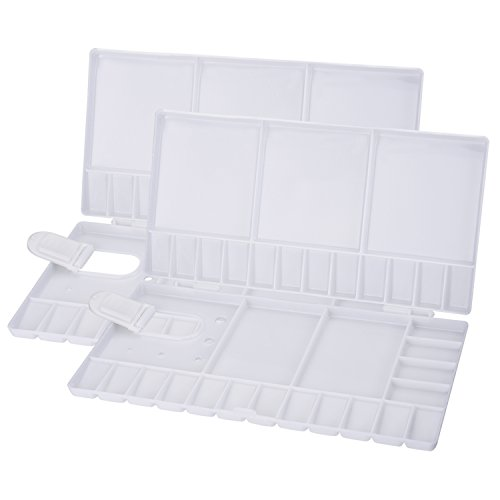 Outus 2 Pieces Folding Paint Trays Box Watercolor Oil Plastic Palettes with 33 Compartments, Thumbhole and Brush Holders, White
