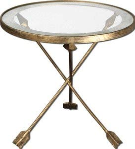 Uttermost 24275 Aero Glass Top Accent Table, Antiqued Gold Leaf