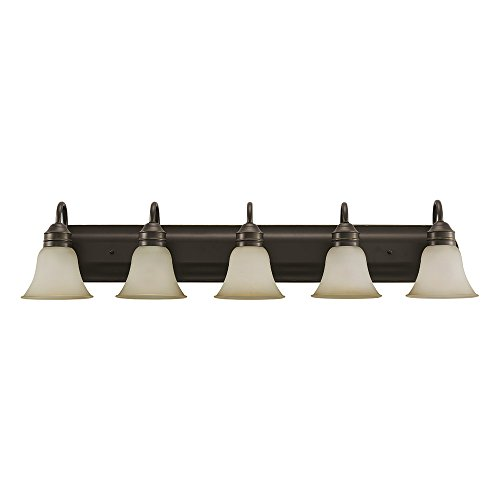 Sea Gull Lighting 44854-782 Gladstone Five-Light Bath or Wall Light Fixture with Smokey Amber Glass Shades, Heirloom Bronze Finish