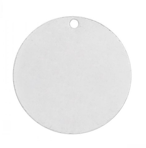 20PCs Silver Round Charms, Round Tag, Blank Discs, Stamping Blanks, 25 mm (1