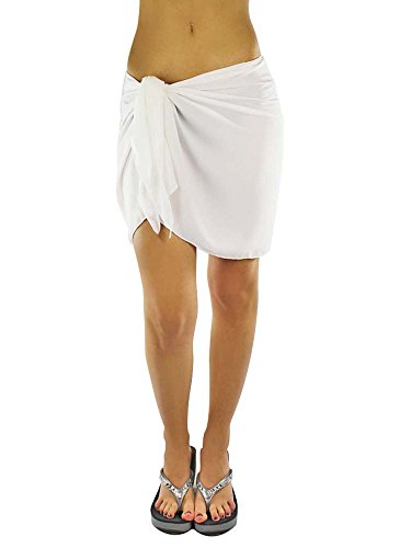 Luxury Divas Womens White Short Sarong Wrap Cover Up - Edge Polyester Wrap