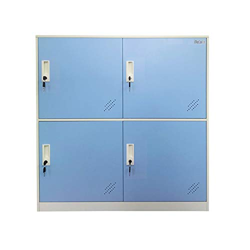 Kids Living Room Locker 4 Door Metal Locker Small Size Storage for School Bags Shoes and Toy (Blue) ()