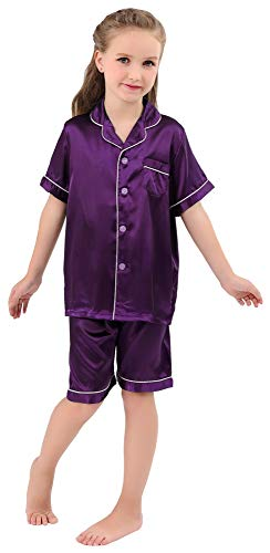 JOYTTON Kids Satin Pajamas Set PJS Short Sleeve Sleepwear Loungewear Purple