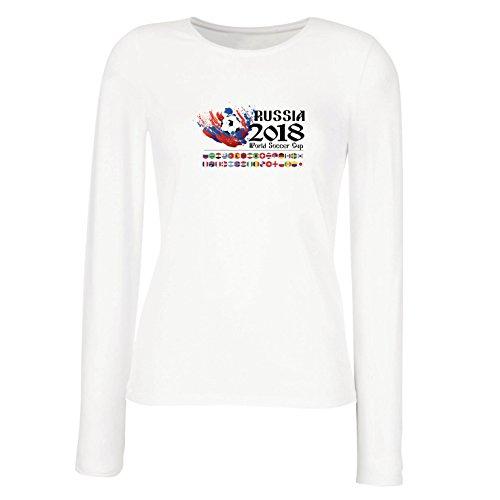 lepni.me Camisetas de Manga Larga para Mujer Copa Mundial de Rusia 2018, Las 32 Banderas Nacionales del Equipo de fútbol...