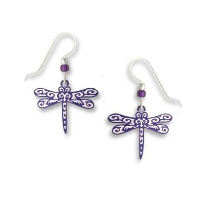 Sienna Sky Teal Purple Maori Pattern Dragonfly Earrings 1764