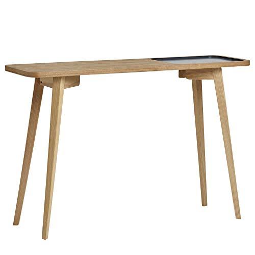 VS Venta-stock Mueble Consola Yoko 120x35 cm, Mueble de Entrada, Madera de Haya y Chapa de Roble, Color Gris Antracita, Estilo nordico