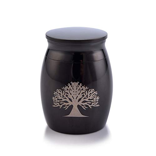 (Sunling Tree of Life Engraved Small Stainless Steel Decorative Memorial Keepsake Cremation Urns Jar for Human Pet Ashes Funeral Bottle Holder for)