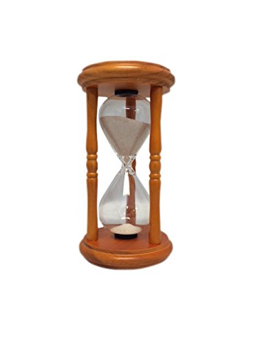 G.W. Schleidt 5 Minute Hourglass Sand Timer in Wood Stand with Natural Sand 6'' Tall, 3 1/2'' Diameter Base