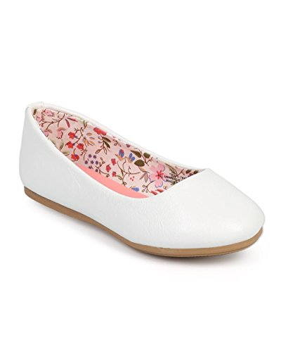 Little Angel DC43 Leatherette Round Toe Classic Slip On Ballerina Flat (Toddler/ Little Girl/ Big Girl) - White (Size: Little Kid (Girls White Ballet Pumps)