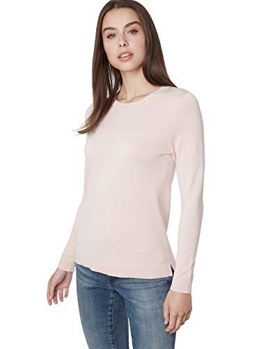 525 America Women's Crewneck Long Sleeve Sweater Top, Powder Pink, Small