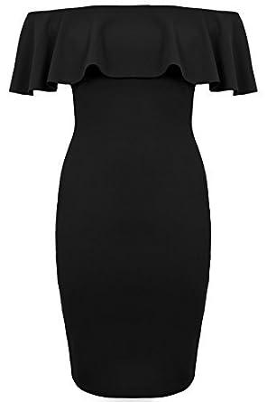 b525bbfe69b7 FANTASIA BOUTIQUE ® Ladies Bardot Off Shoulder Frill Ruffle Stretch Bodycon  Pencil Short Mini Dress  Amazon.co.uk  Clothing