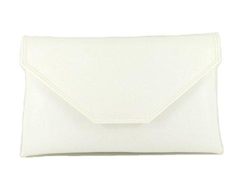 Leather Shoulder Bag LONI Stylish White Purse Womens Clutch Faux qff01wv
