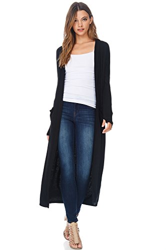 A+D Womens Maxi Duster Jersey Cardigan Sweater W/Pockets