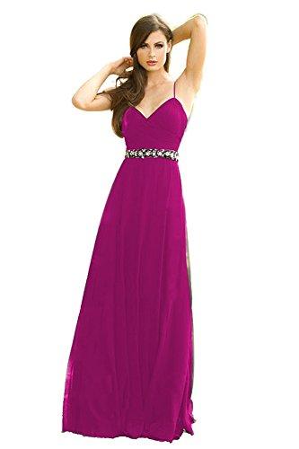 Long Bridal Aurora Fuchsia Spaghetti V Dress Neck Bridesmaid Straps wZX6qxXd4