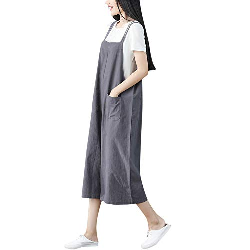 (KINGOL Women Summer Fashio Plus Size Cotton and Linen Loose Short Sleeve Casual Jumpsuit)