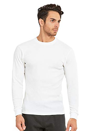 Thermal Knit Top - Men's Classic Waffle-Knit Heavy Thermal Top (XL, White)