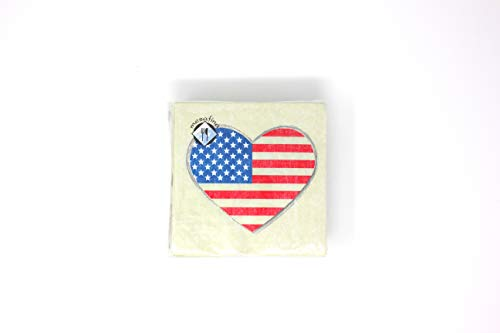 Land That I Love Cocktail - Beverage Napkins | 40 Pieces 3-Ply | American Flag Heart