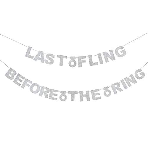 Last Fling Before The Ring Silver Glitter Banner Bachelorette Hen Night Wedding Bridal Shower Party Sign Decoration.