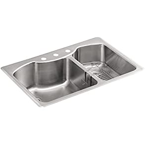 KOHLER K-3844-3-NA Octave 33' x 22' Top-Mount Large/Medium Double-Bowl Kitchen Sink with Three Faucet Holes, Stainless Steel
