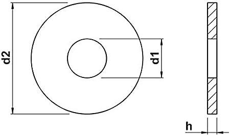 M14 Unterlegscheiben Scheiben f/ür Holzkonstruktionen DIN 440 Edelstahl A2 x5