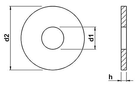 M6 x20 Unterlegscheiben Breite DIN 9021 Rostfreistahl A2 V2A