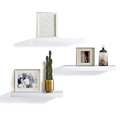"""INART White Floating Shelves Wall Mounted Display Ledge Storage Shelf, Easy To Install, Set of 3 (5.9"""" Deep) - DECORATIVE WALL SHELF: Decorative and functional for your home, office, or dorm room; use to display vases, small pictures and more MADE OF LIGHTWEIGHT MATERIALS: Made of lightweight and high quality MDF. These wall shelves are fits in any room WALL MOUNTED SHELF DIMENSION: 14.9 in W x 1.3 in H x 5.9 in D - wall-shelves, living-room-furniture, living-room - 31qODecN4yL. SS400  -"""