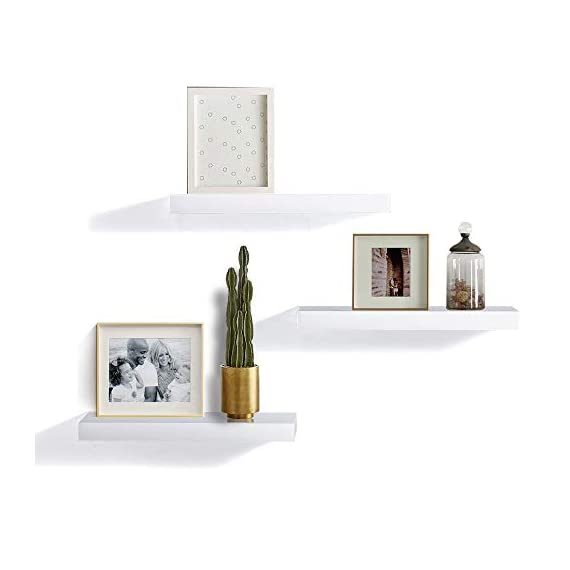 """INART White Floating Shelves Wall Mounted Display Ledge Storage Shelf, Easy To Install, Set of 3 (5.9"""" Deep) - DECORATIVE WALL SHELF: Decorative and functional for your home, office, or dorm room; use to display vases, small pictures and more HIGH QUALITY: Made of lightweight and high quality MDF. These wall shelves are fits in any room WALL MOUNTED SHELF DIMENSION: 14.9 in W x 1.3 in H x 5.9 in D - wall-shelves, living-room-furniture, living-room - 31qODecN4yL. SS570  -"""