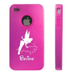 Apple iPhone 4 4S 4G Hot Pink D10 Aluminum & Silicone Case Fairy Believe
