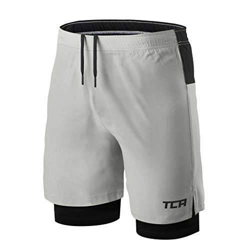 TCA Mens Ultra 2 in 1 Running Shorts with Inner Compression Short and Zip Pocket - Cool Gray/Black, L