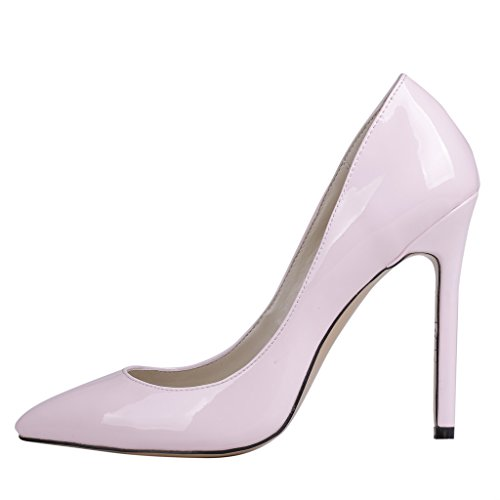 EKS Damenschuhe Spitz High Heels Pumps Pink-Lackleder
