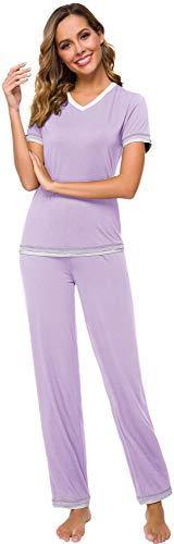 (WiWi Womens Bamboo V Neck Pajama Sets Moisture Wicking Sleepwear Short Sleeve Tops with Sleep Pants S-XXL(2XL), Taro Purple, X-Large)