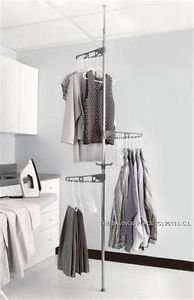Tension Mounted Adjustable Floor To Ceiling Laundry Clothes Drying