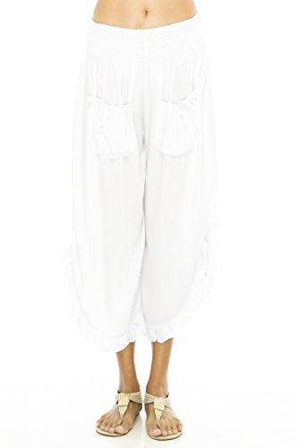 Pants Crop Ruffle Hem White L/XL