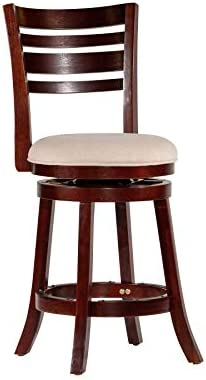DTY Indoor Living Granby 4-Slat Back Upholstered Swivel Stool, 24 Counter Stool, Espresso Finish, Beige Upholstered Seat
