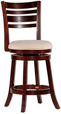 DTY Indoor Living Granby 4-Slat Back Upholstered Swivel Stool, 24 Counter Stool, Espresso Finish, Beige Upholstered Seat