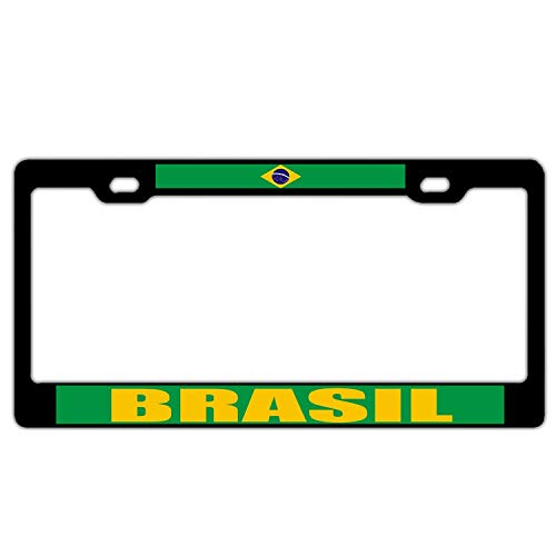 (YEX Abstract Brasil Brazil Flag Black License Plate Frame Car Licence Plate Covers Auto Tag Holder 6
