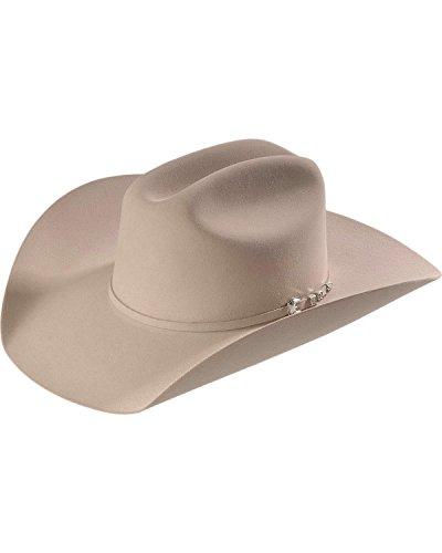 Stetson Men's 6X Bar None Fur Felt Western Hat Silverbelly 7 3/8 White