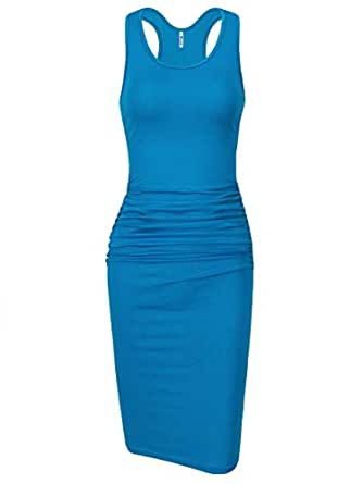 Missufe Women's Sleeveless Racerback Tank Ruched Bodycon Sundress Midi Fitted Casual Dress - Blue - X-Small