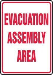 Evacuation Assembly - Accuform Signs MFEX504VP Plastic Safety Sign, Legend