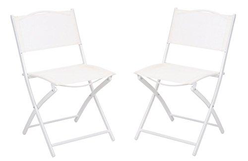 NACH ki-2039-2 Bistro Style Foldable Metal Chair (Set of 2), White (Ki Folding Chair)