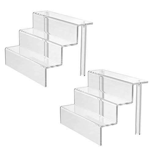 Femeli 3 Tiers Clear Acrylic Risers Display Stand Shelf for Collectibles Action Figures Amiibo Pop Funko Craft Show,Table Top(9 x 6 Inch,2 Pack)