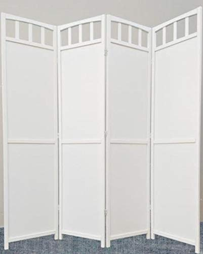 Solid Wood Room Divider - Legacy Decor 4-Panel Screen Room Divider Solid Wood White Finish
